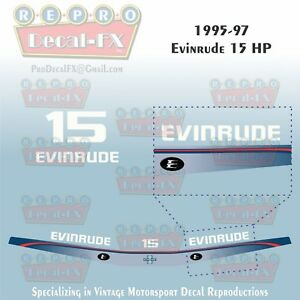 1995-97 Evinrude 15 HP Outboard Reproduction 5 Pc Marine Vinyl Decals 2-Stroke