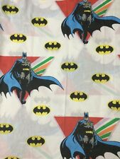 Vintage 1989 Batman Bat Signal Twin Flat Bed Sheet Bedding Decor Craft Fabric