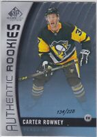 17/18 SP GAME USED...CARTER ROWNEY...AUTHENTIC ROOKIES...134/228...PENGUINS
