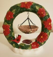 Home Interior Christmas Wreath Tealight Candle Holder with Cardinal & Warmer