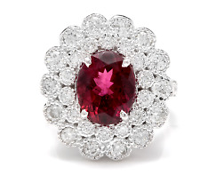 4.25 Carats NATURAL Tourmaline and DIAMOND 14K Solid White Gold Ring
