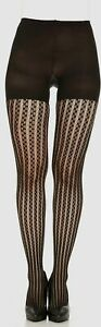 $49 Spanx Women's Black Uptown Tight-End Tuxedo Stripe Shaping Tights Size D