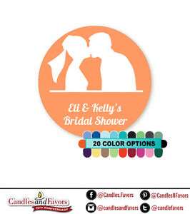 Wedding Couple Round Personalized Bridal Shower/Wedding Sticker Labels 20 colors
