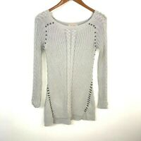 Philosophy Gray Cable Knit Embellished Tunic Pullover Sweater Women's Size XS