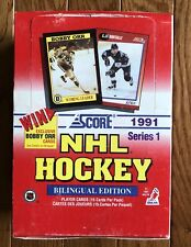 1991-92 Score Hockey Card Set Wax Pack Box Series 1 One Bilingual Edition.