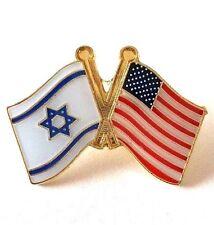 Israel & US USA United States Friendship Flags Pin Badge Insignia Lapel 2+1 FREE