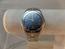 BULOVA ACCUTRON SWISS 26M04 LADIES  WATCH S/S BLUE DIAL DATE