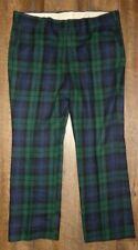 Vintage Thomson Tartan Plaid Pants Wool Blend Flat Front Men's 40/30 blue green