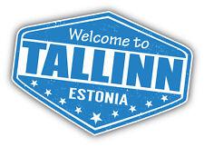 "Tallinn City Estonia Grunge Travel Stamp Car Bumper Sticker Decal 5"" x 4"""
