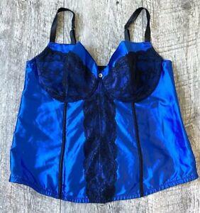 CACIQUE LANE BRYANT BLUE SATIN BLACK LACE BUSTIER CORSET MERRYWIDOW TOP 22/24