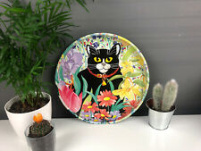 More details for vintage cat tray dish storage floral japanese style black red collar pink metal