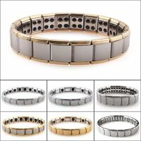 Mens Germanium Bracelet Stainless Steel Magnetic Therapy Pain Relief Hip Hop