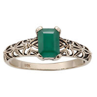 10k Yellow Gold Vintage Style Genuine Emerald Scroll Ring