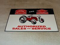 "VINTAGE ""FORD TRACTOR SALES+ SERVICE FARM EQUIPMENT"" 12"" METAL GASOLINE OIL SIGN"
