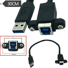 USB 3.0 A Male to USB 3.0 B Female Converter Cable With Screw Panel Mount Cord