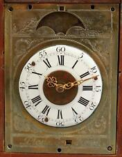 Early Antique 18thC Miniature Fusee Moon Phase + Day & Month Calendar Clock, NR