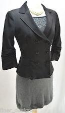 NikiBiki Black sleek blazer sheen stretch sexy Jacket lined double breast S NEW
