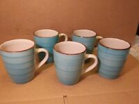 5 ROYAL NORFOLK TURQUOISE BLUE SWIRL STONEWARE 12 OZ. COFFEE MUGS CUPS