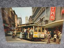 Vintage Cable Car On Turn Table Postcard San Francisco CA Powell & Market St.
