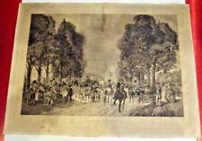 Ancienne Lithographie une Promenade à Longchamp 1788 gravé par Ripart