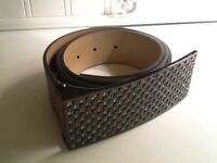 WCM New York Silver Leather Belt With Large Gorgeous Rhinestone Buckle Small 38