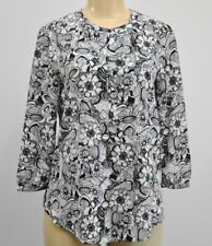 Not Your Daughters Jeans XS Pleated Back Blouse Black White Floral NYDJ NWT