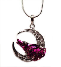 Wolf and The Moon  Pendant  and Necklace  Rhodium Plated Gift Boxed
