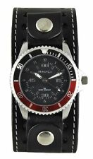 Nemesis Red Classy Classic Diver Watch with Black Stitched Leather Cuff Band