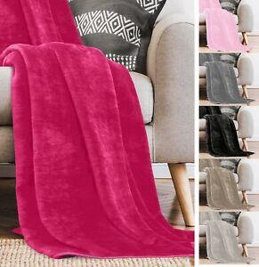 Soft Faux Mink Throw Over Bed Cuddle Luxury Fur Fleece Warm Blanket Bedding Sofa