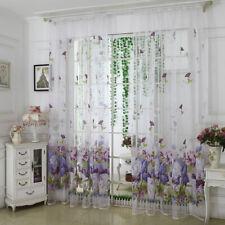 HB- JW_ Flower Peony Floral Tulle Voile Door Window Curtain Drape Panel Sheer Sc