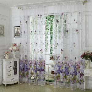 AM_ JW_ Flower Peony Floral Tulle Voile Door Window Curtain Drape Panel Sheer Sc