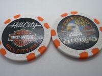 White & Orange 80th Ann. Poker Chip from Hill City Harley Davidson Hill City, SD