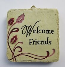b Welcome Friends Mini Plaque fairy garden stepping stone Ganz Polystone