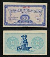 RARO BILLETE Guerra Civil Española. Asturias y León 50 céntimos 1937. Nº 069706.