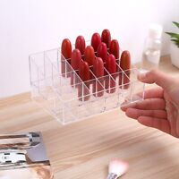 24 Trapezoid Clear Makeup Lipstick Stand Case Cosmetic Organizer Display Holder