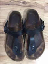 Birkenstock Gizeh Black Leather Push Toe Post Thong Sandal Women's  Size 3