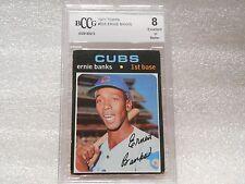 Ernie Banks GRADED CARD!! Beckett BCCG 8!! 1971 Topps #525 Cubs HOFer -8212