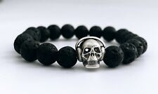 Silver Skull Bead Charm - Free Shipping Black Lava Beaded Bracelets 8 Mm With