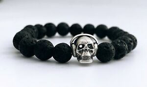 Black Lava Beaded Bracelets 8 MM With Silver Skull Bead Charm - Free Shipping
