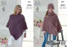 King Cole 4671 Knitting Pattern Womens Ponchos and Hat in King Cole Fashion Aran