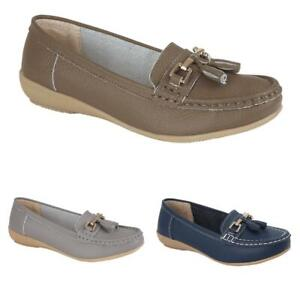 Ladies Soft Leather Casual Slip on Flat Loafer Shoe Footwear Size 3 4 5 6 7 8
