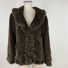 Damselle New York Woman's Faux Fur Raffle jacket coat brown Size  medium
