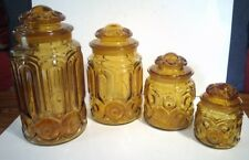 Set of 4 Vintage LE SMITH Amber/Honey Gold MOON & STARS Canisters with Lids