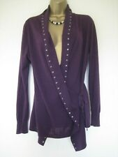 Jigsaw purple silk wool and cashmere wrap jumper size Medium UK 12