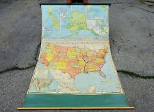 Old 1957 Nystrom United States Canvas Linen School Teacher Classroom Map