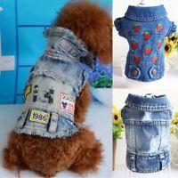 Fashion Small Pet Dog Cat Blue Jean Denim Puppy Coat Jacket Vest Clothes Apparel