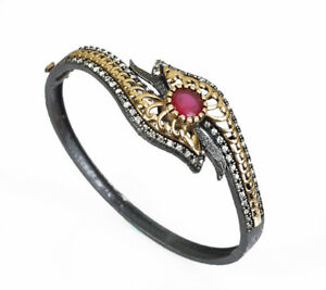 SPECIAL SERIES TURKISH RUBY .925 SILVER & BRONZE BANGLE BRACELET #71609