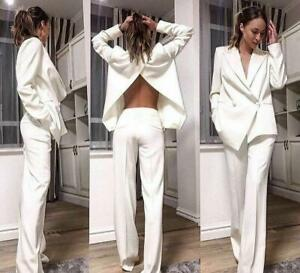 White Women Formal Suits Jacket Straight Pants Double Breasted Prom Party Work
