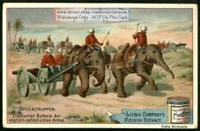 India Army Troops Pulling Artillery With Elephants 1896 Trade Ad Card