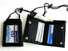 BLACK LEATHER BIFOLD WALLET ID Badge Window Pocket Card Holder Zip Neck Strap